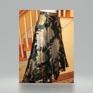 ELIZA J BLACK/GOLD BROCADE HIGH LOW SKIRT SIZE 8